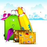 Travel Bag. Illustration of travel bag with surfboard and suitcase Stock Photo