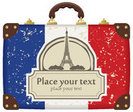 Travel bag. With the flag of Paris and the Eiffel Tower Stock Photo
