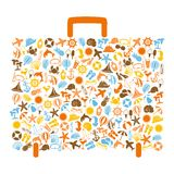Travel bag consisting of summer icons Royalty Free Stock Photos