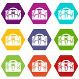 Travel bag destination icons set 9 vector. Travel bag destination icons 9 set coloful isolated on white for web Royalty Free Stock Photo