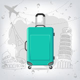 Travel bag with different travel elements , Colosseum, Pisa, Eiffel Tower Royalty Free Stock Photography