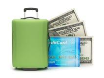 Travel bag, dollar bills and credit card Stock Photo