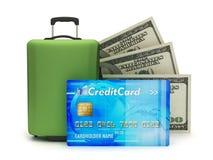 Travel bag, dollar bills and credit card vector illustration