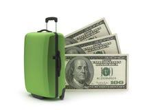 Travel bag and dollar bills Stock Photos