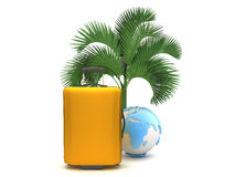 Travel bag and earth globe under a palm tree Royalty Free Stock Images