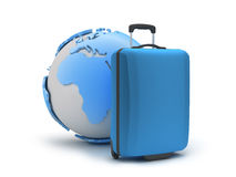 Travel bag and earth globe Royalty Free Stock Image