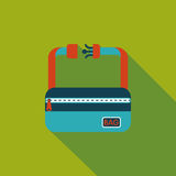 Travel bag, flat icon with long shadow. Cartoon vector illustration vector illustration