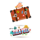 Travel bag in hand with letters design in cartoon style. vacatio Stock Images