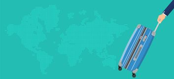 Travel bag in hand. Plastic case. Trolley on wheels. Travel baggage and luggage. World map. vector illustration in flat design Stock Image