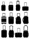 Travel bag icons set. In black vector illustration