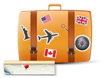 Travel Bag. Illustration Of Travel Bag Vintage with Map Royalty Free Stock Photos
