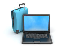 Travel bag and laptop Royalty Free Stock Images