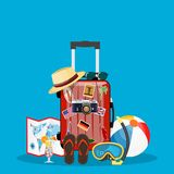 Travel bag, luggage. Suitcase with stickers, straw hat, beach ball, sandals, shoes . Summer time, vacation, tourism concept. Vector illustration in flat style Royalty Free Stock Images