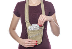 Travel Bag for money. Stock Photos