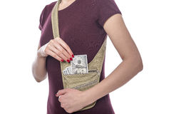 Travel Bag for money. Royalty Free Stock Photo