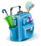 Travel bag with objects for entertainment. Vector illustration isolated on white background Stock Photos
