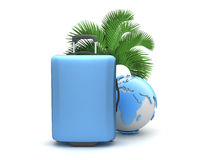 Travel bag, palm tree and earth globe isolated Royalty Free Stock Image