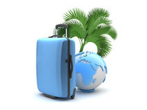 Travel bag, palm tree and earth globe Royalty Free Stock Photos