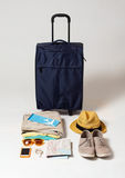 Travel bag and personal stuff Royalty Free Stock Image