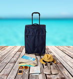 Travel bag and personal stuff for vacation Stock Image
