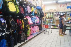 Travel bag sales. Travel bags for sale at WAL-MART mall, Shenzhen, china stock photography