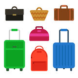 Travel bag set. Set isolated travel bag for man or woman. Travel bag luggage suitcase journey trip and travel bag case baggage. Luggage travel bag Stock Photography