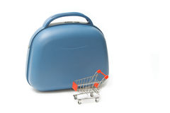 Travel bag with  shopping cart Stock Photos