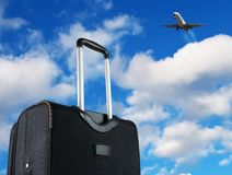 Travel. Bag on sky, concept Stock Image