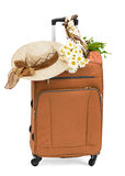 Travel bag with a straw hat Royalty Free Stock Photography
