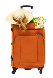 Travel bag with a straw hat Royalty Free Stock Photo