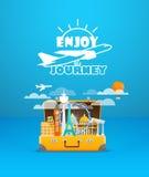 Travel bag vector illustration. Vacation design template. Enjoy Royalty Free Stock Images