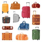 Travel bag vector luggage suitcase for journey vacation tourism illustration set of trip baggage and tour adventure case Vector Illustration