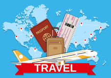 Travel bag and world map. Brown travel bag, boarding pass, passport and civil aircraft and red sign on blue background of world map with routes. travel concept stock illustration
