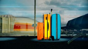 Travel baggage in airport waiting lounge. Consept of Tourism, Travel, Trip, Tour