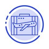 Travel, Baggage, Business, Case, Luggage, Portfolio, Suitcase Blue Dotted Line Line Icon royalty free illustration