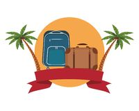 Travel baggage icon. With palm tree colorful round icon vector illustration graphic design stock illustration