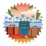 Travel baggage icon. Seascape round icon colorful vector illustration graphic design vector illustration