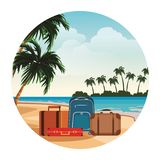 Travel baggage icon. Seascape round icon colorful vector illustration graphic design royalty free illustration