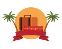Travel baggage icon. With palm tree colorful round icon vector illustration graphic design royalty free illustration
