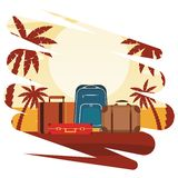 Travel baggage icon. With palm tree seascape colorful vector illustration graphic design royalty free illustration