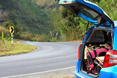 Travel with baggage on the mountain.  Royalty Free Stock Images