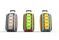 Travel baggage suitcases on white background Stock Photo