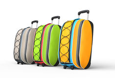 Travel baggage suitcases on white background - side view Royalty Free Stock Photo