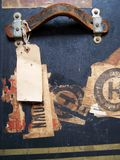 Travel baggage Tags & Labels. One of a series of images of abstract, rough and textured photographs of a vintage 1920's travel case Royalty Free Stock Image
