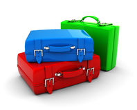 Travel bags. 3d illustration of colorful travel bags over white background stock illustration