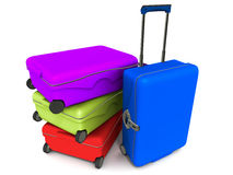 Travel bags. In different colors, concept of vacation and travel holidays royalty free illustration