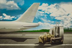 Travel bags in airport and airliner. Concept Royalty Free Stock Images