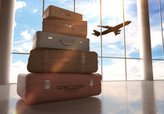 Travel bags. In airport and airliner in sky royalty free stock photo