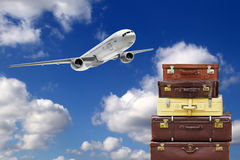 Travel bags. In airport and airliner in sky stock images
