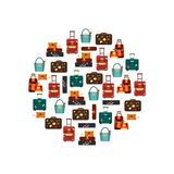 Travel bags in circle isolated on white background vector illustration. Collection business voyage packing, handle trip Stock Images